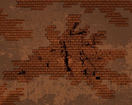 plaster wall: vector old shabby cracked brick wall