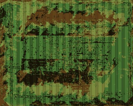 vector old rusty corrugated iron with green paint peeling off