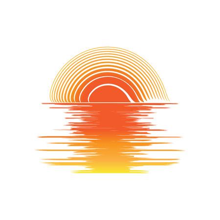 orange Sonnenuntergang und Meereswellen