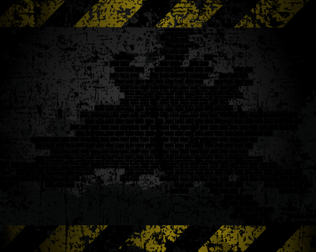 brick road: vector grungy background texture of an old brick wall with black and yellow lines at a distance horizontally warning of danger Illustration
