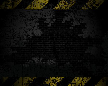 amarillo y negro: vector sucio textura de fondo de una pared de ladrillo con líneas negras y amarillas a una distancia horizontal de advertencia de peligro Vectores