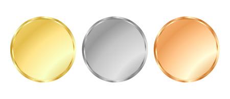 Simple or template vecteur, argent, médailles de bronze pour des timbres ou des pièces de monnaie Vecteurs