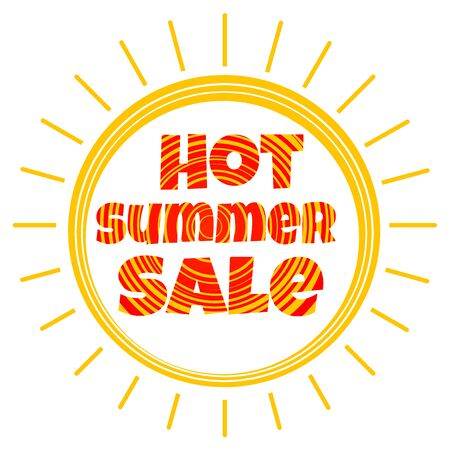 hot summer: Vector sun with the inscription hot summer sale Illustration