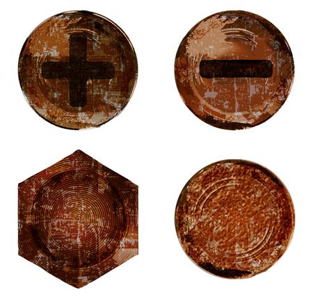 Wektor stare zardzewiałe śruby Gwoździowkręty nit Ilustracje wektorowe