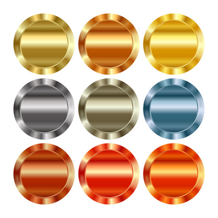 platinum: Vector set of blank templates of different types of gold, platinum, silver, bronze, copper, which can be used as labels, buttons, coins, medals Illustration