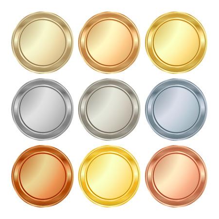 Vector de todo plantillas en blanco de la plata del platino de oro de latón de bronce de cobre que pueden utilizarse como medallas imprimir credenciales monedas medallas etiquetas etiquetas