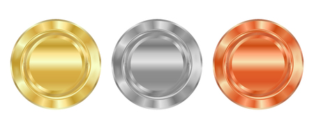 silver coins: Vector Blank template for medals of gold, silver, bronze, which can be used as labels, buttons, coins, medals