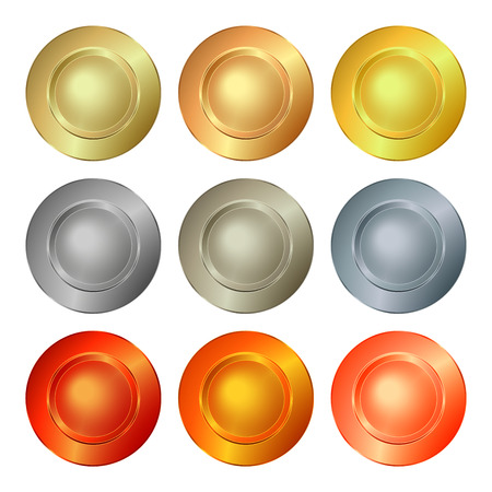 platinum: vector round empty polished templates from gold platinum silver bronze copper brass which can be used as print medals badges coins medals tags labels Illustration