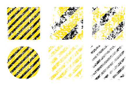 worn: different vector worn yellow black stripes, square and round shapes of the danger warning Illustration