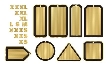 xl: vector blank gold price tags of various shapes with a black stroke