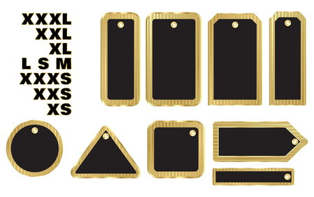 small size: vector blank gold price tags of different shape with black insert