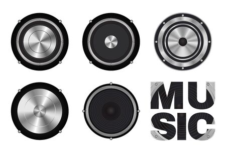 acoustic systems: vector set of speaker icon Illustration