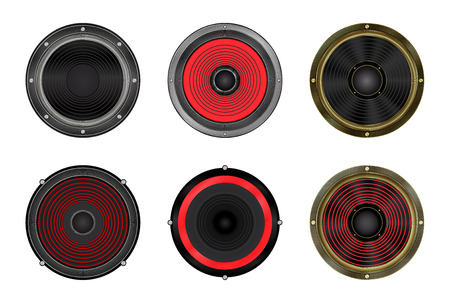 acoustic systems: vector set of round speakers Illustration