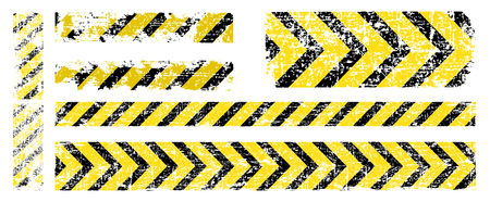 different vector worn yellow black stripe, warning of the dangers of