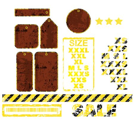 size specification: vector blank tags with different shapes in the form of rusty metal and inscription sale of black and yellow stripes Sizes