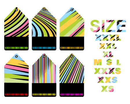xs: vector blank price tags with different colored stripes with a black insert for text Illustration