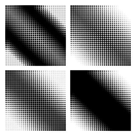 density: Abstract set of halftone squares and circles different density