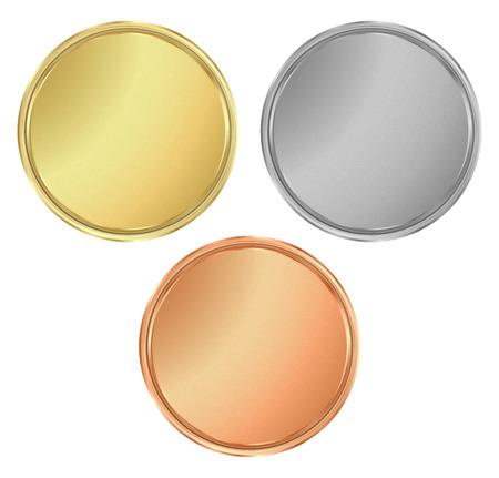 medallas de bronce de plata de oro con textura redonda vacía. Puede ser utilizado como un iconos de los botones de la moneda