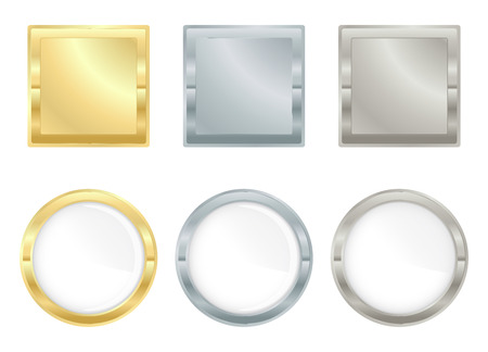platinum: set of square and circular icons of gold silver and platinum