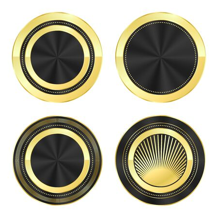 inserts: set of round icons of gold with black glossy inserts