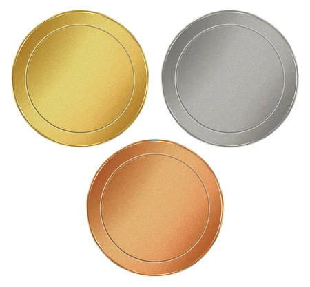 tokens: set of blank round texture tokens of gold, silver, bronze, which can be used as medals, coins, stamps Illustration