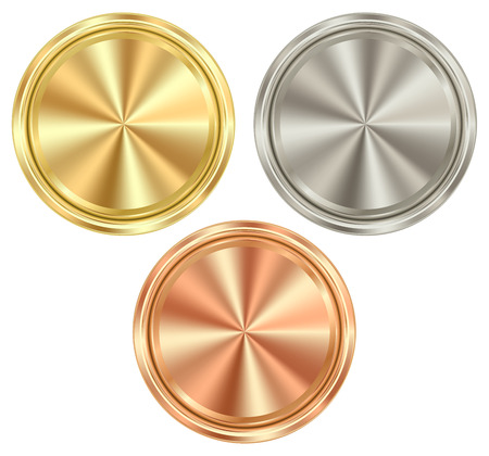 set of blank round coins of gold, silver, bronze, which can be used as medals, coins, stamps Illustration