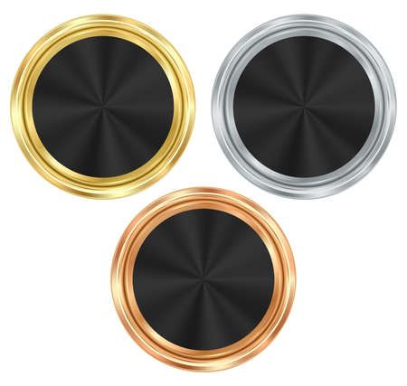 gold silver bronze: set of blank round medals of gold, silver, bronze with a black glossy insert
