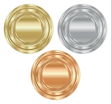 set round medals of gold, silver, bronze