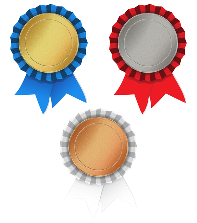 gold silver bronze: set of blank round texture with medals of gold, silver, bronze and red, blue, white ribbon gathered in the rosette Illustration