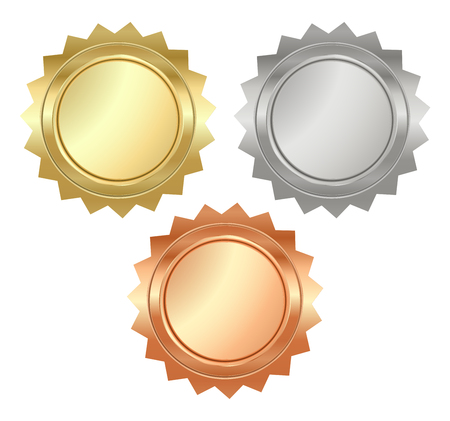 blank glossy serrated medals of gold, silver and bronze that can be used on diplomas, certificates