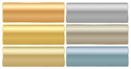 Ensemble vectoriel de longues plaques rectangulaires de métaux différents or platine or rouge argent laiton aluminium Vecteurs