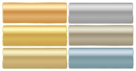 Vector set of long rectangular plates of different metals gold platinum red gold silver brass aluminum