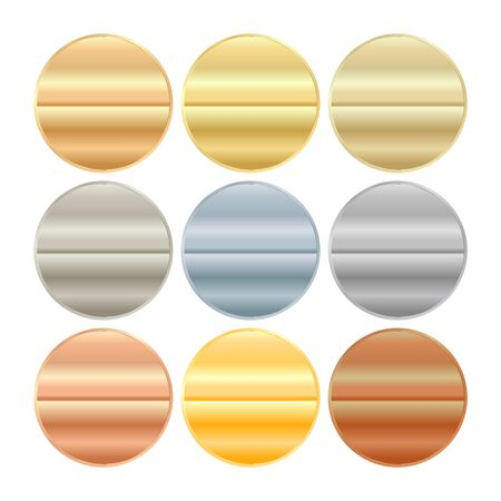 silver: vector round blank templates from gold platinum silver bronze copper brass which can be used as print medals badges coins medals tags labels