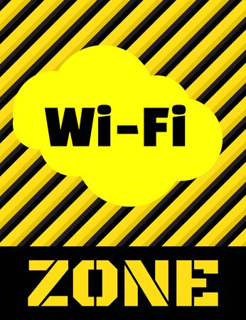 Vector signo amarillo con rayas negras y las palabras Wi fi zona
