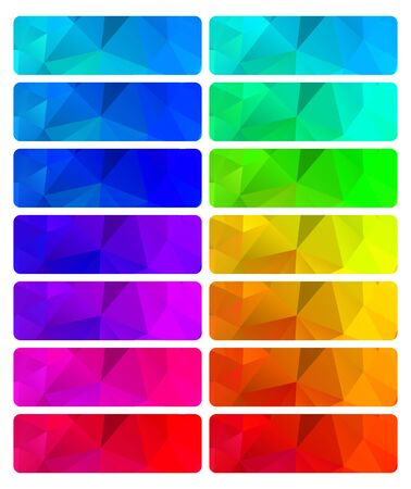 Vector set of abstract polygonal gradient backgrounds of different colors that can be used in web design banners or buttons