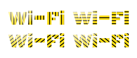 wi: Vector set of Wi Fi inscription from yellow and black stripes Illustration