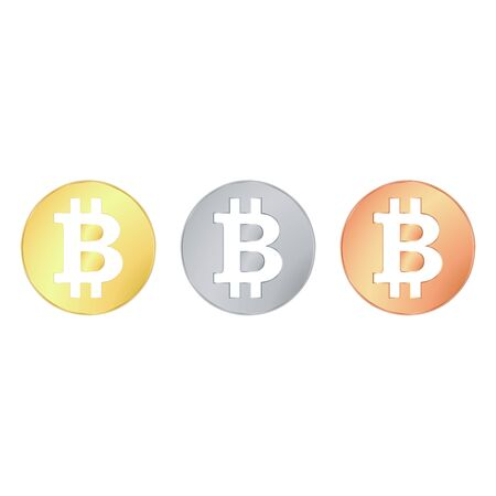 Set round smooth shiny cryptocurrency coins. Bitcoin currency crypto sign. Basis printing. Badges made precious metals. capital electronic currency. new money Vector illustration.