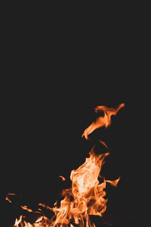 Tongues of flame. Red orange bonfire black background. Danger Uncontrolled force. attractive fire. Summer camping. Close-up. Bright light.