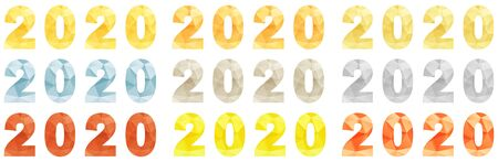 Set of vector multicolored inscriptions 2020. Digital font two thousand and twentieth year from colorful faces. Close-up. New calendar year. Screensaver for diaries. Vector illustration.