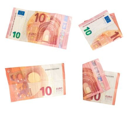 Set of ten euro banknote on white background. Banknote of 10 euros. Money common in European countries European Union. Money isolated on white background. Piled in ten euros. Reklamní fotografie