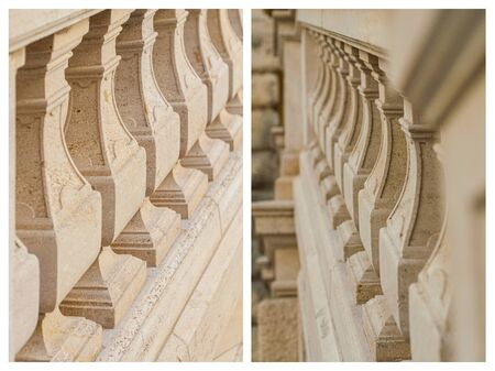 Set, antique, outdoor stairs and balustrades. Detail banister with beige sandstone. architecture stone, natural material. Baroque balustrade, granite. Collage vertical photos. Stock Photo