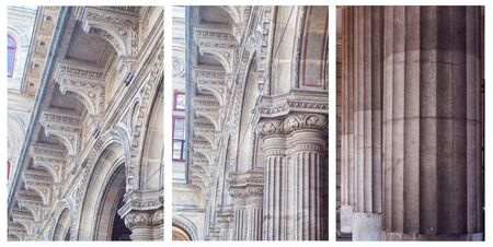 Set, lines ancient columns and bas-relief stone ornaments in Renaissance architecture close-up. Vienna State Opera. Collage vertical photos.