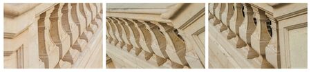 Set, antique, outdoor stairs and balustrades. Detail banister with beige sandstone. architecture stone, natural material. Baroque balustrade, granite. Collage horizontal photos.