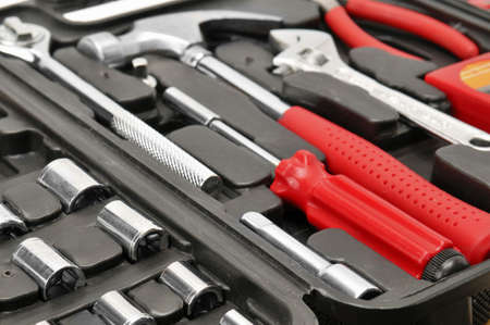 set tools isolated on a white                                     photo