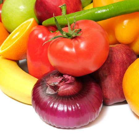 fruits and vegetables isolated on a white Stock Photo - 6909168
