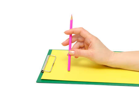 womanlike: clipboard and hand on a white background