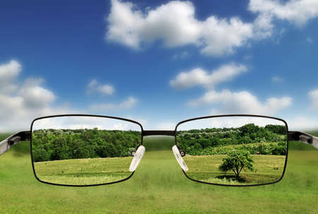 protecting spectacles: Sunglasses. Concept - sunglasses for poor vision.                                     Stock Photo