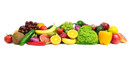 produces: fruits and vegetables isolated on a white                                     Stock Photo
