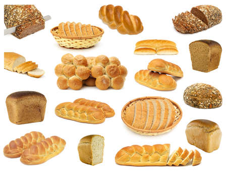 set breads isolated on a white Stock Photo - 7272410