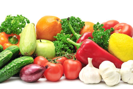 fruits and vegetables isolated on a white                                     photo